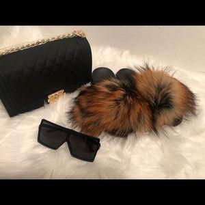 Reddish Brown Fur Slide Set